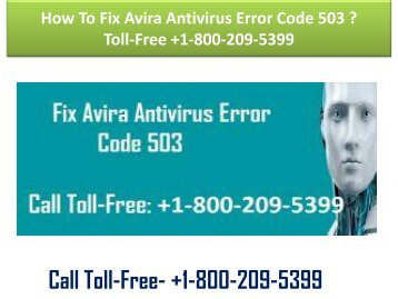 How To Fix Avira Antivirus Error Code 503  Toll-Free +1-800-209-5399