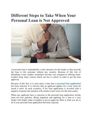 Different Steps to Take When Your Personal Loan is Not Approved