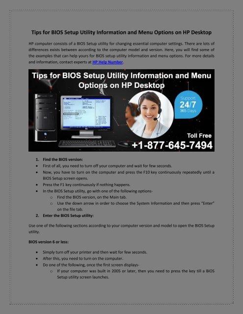 Tips for BIOS Setup Utility Information and Menu Options on HP Desktop