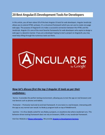 20 Best AngularJS Development Tools for Developers