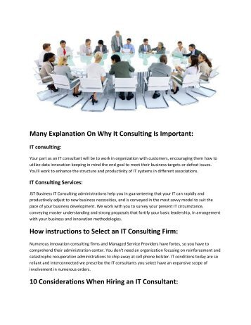 Many Explanation On Why It Consulting Is Important