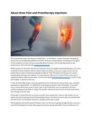 About Knee Pain and Prolotherapy Injections