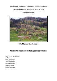 Klassifikation von Hangbewegungen - Universität Bonn