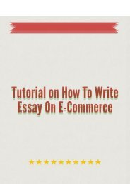 Tutorial on How to Write Essay on E-Commerce