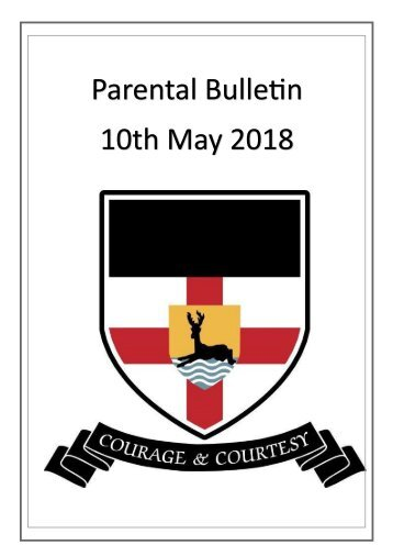 Parental Bulletin - 10th May 2018