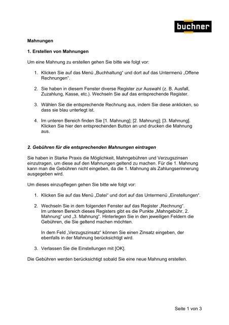Seite 1 Von 3 Mahnungen 1 Erstellen Von Mahnungen Buchner