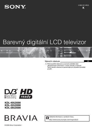 Sony KDL-32U2000 - KDL-32U2000 Mode d'emploi Tchèque