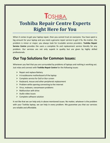 Toshiba Repair Centre UK Experts Right Here For You