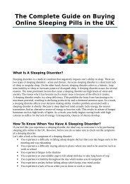 Online Sleeping Pills UK - Treatment for Insomnia