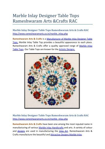 Marble Inlay Designer Table Tops Rameshwaram Arts and Crafts RAC