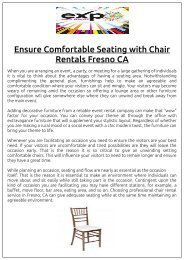 Ensure Comfortable Seating with Chair Rentals Fresno CA