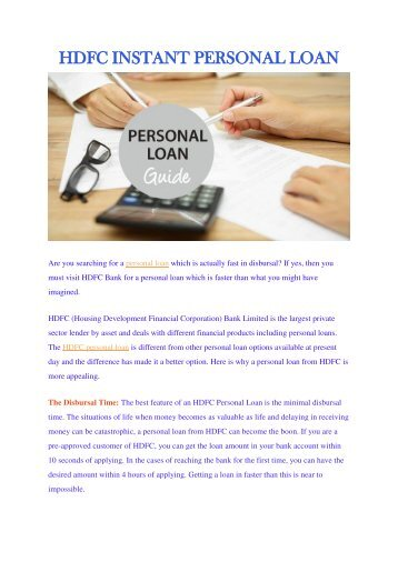 HDFC INSTANT PERSONAL LOAN