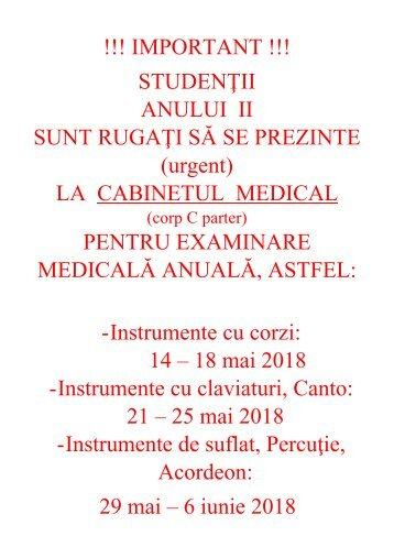 Examinare medicala anuala