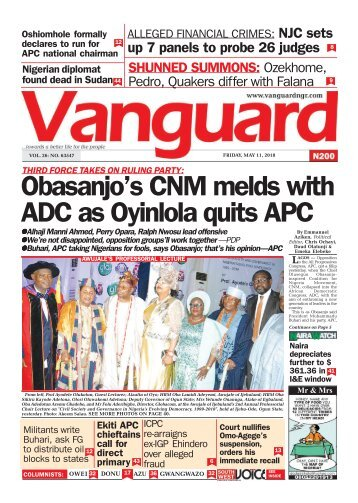11052018 - Obasanjo's CNM melds with ADC as Oyinlola quits APC