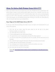 How To Solve Dell Printer Error 010-377