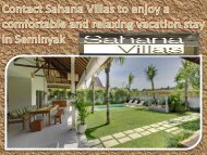 Contact Sahana Villas to enjoy a comfortable and relaxing vacation stay in Seminyak