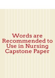 Words are Recommended to Use in Nursing Capstone Paper