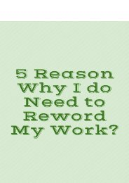 5 Reason Why I do Need to Reword My Work