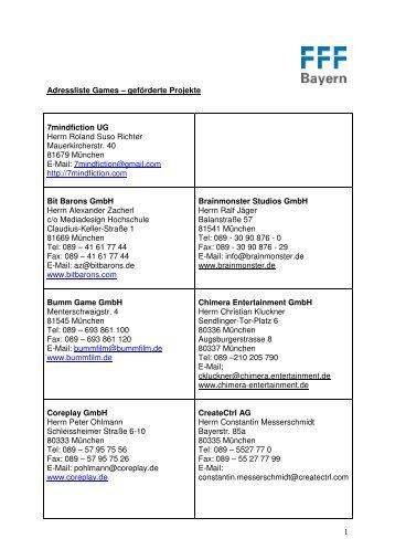 Adressliste geförderter Firmen