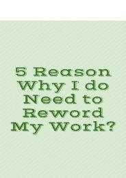 5 Reason Why I do Need to Reword My Work?