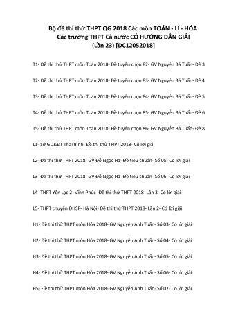 Bộ đề thi thử THPT QG 2018 Các môn TOÁN - LÍ - HÓA Các trường THPT Cả nước CÓ HƯỚNG DẪN GIẢI (Lần 23) [DC12052018]