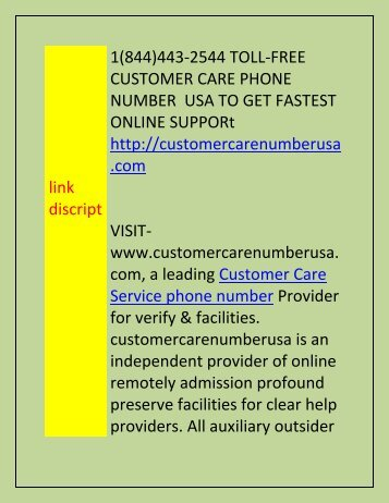 +1(844)443-2544 customer care number usa