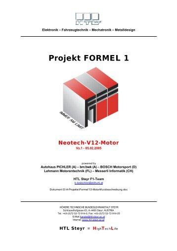 Projekt FORMEL 1 Neotech-V12-Motor - der HTL Steyr