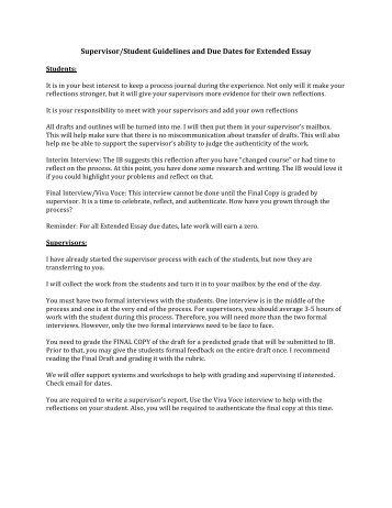 Extended Essay Supervisor Student Guide