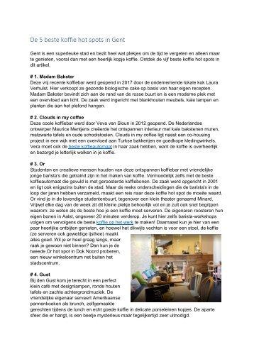 De 5 beste koffie hot spots in Gent