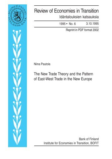 The New Trade Theory and the Pattern of East ... - Suomen Pankki