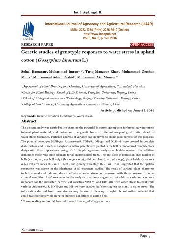Genetic studies of genotypic responses to water stress in upland cotton (Gossypium hirsutum L.)