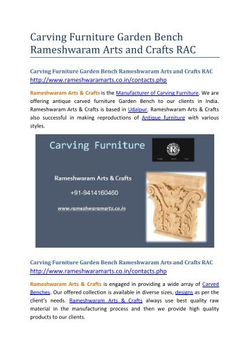 Carving Furniture Garden Bench Rameshwaram Arts and Crafts RAC