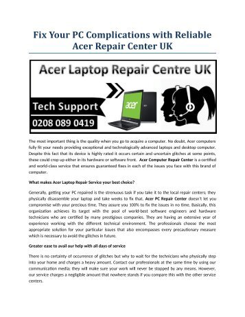 Fix Your PC Complications with Reliable acer Computer Repair Center