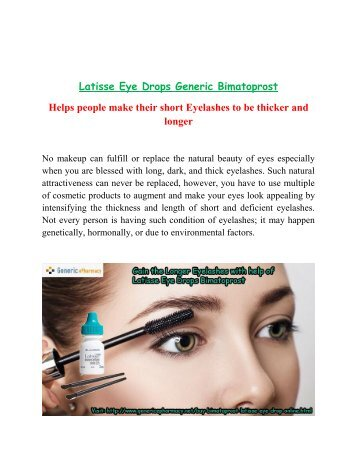 Buy Latisse Online Generic Bimatoprost Eye Drops without Prescription