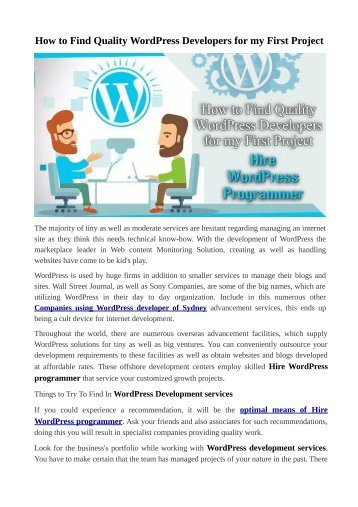 Things to Try To Find In Hire WordPress programmer