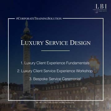 LBI Corporate Training Solution: Luxury Service Design