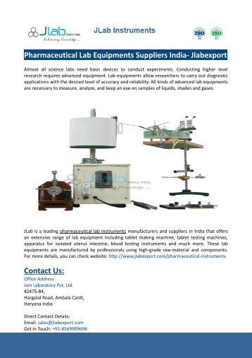 Pharmaceutical Lab Equipments Suppliers India- Jlabexport
