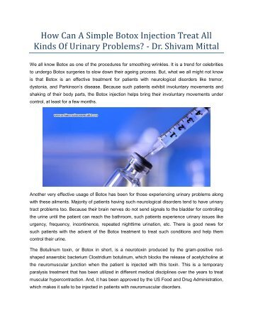 How Can A Simple Botox Injection Treat All Kinds Of Urinary Problems? - Dr. Shivam Mittal