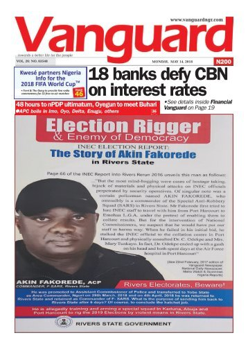 14052018 - 18 Banks defy CBN on interest rates