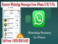 Dial 1-800-608-5461 To Recover WhatsApp Messages From iPhone X/8/7/6s