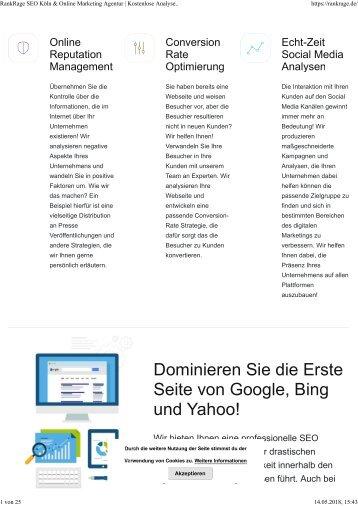 RankRage SEO und Online Marketing Agentur Homepage