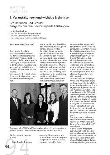 Wichtige Ereignisse - Städtische Berufsschule II Regensburg