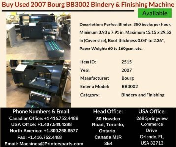 Buy Used 2007 Bourg BB3002 Bindery and Finishing Machine