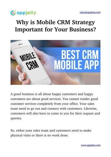 Why is Mobile CRM Strategy Important for Your Business?