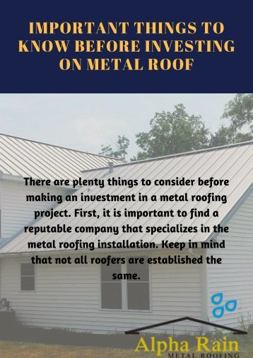Important things to Know Before Investing on Metal Roof