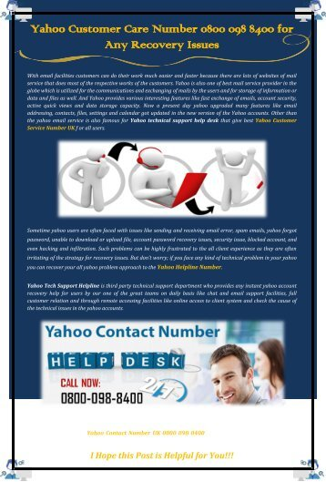 Yahoo Customer Care Number for Any Recovery Issues