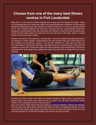 Choose from one of the many best fitness centres in Fort Lauderdale