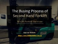 The Buying Process of Second Hand Forklift