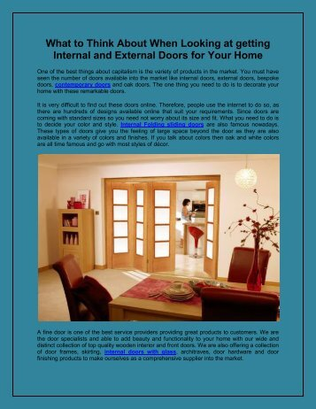 What to Think About When Looking at getting Internal and External Doors for Your Home