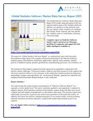 Statistics Software Market Research Report forecast 2018 to 2026